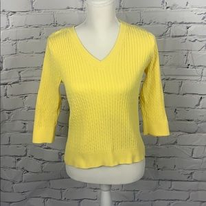Jeanna Pierre Preppy Yellow Cable knit Sweater
